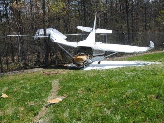 20150503.. KPEO Cessna crashed into fence