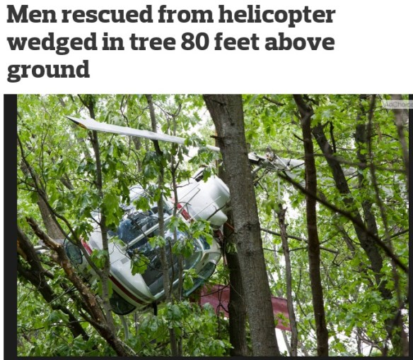 20150529scp.. Helo crashed at top of trees in W MI