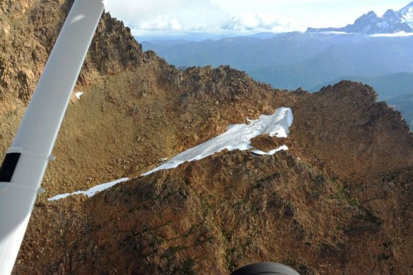 Rugged terrain in the vicinity of the PA22 crash site.