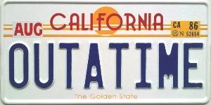 20150804cpy.. CA license plate sample, 65mm font, 'OutaTime'