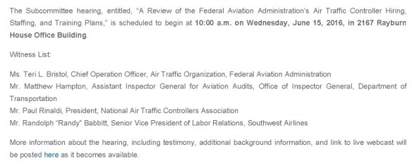 20160615scp.. 'FAA's Air Traffic Controller Hiring, Staffing & Training to be Focus of Hearing' (portion of House Aviation Subcomm Press Release)