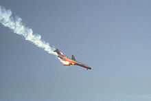 KSAN.19780925.. PSA182 trailing smoke just after midair collision
