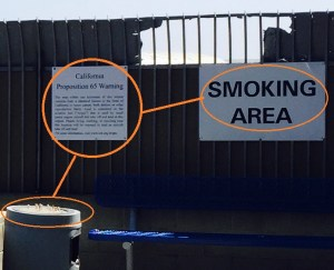 (the best SDanta Monica could do was to place the sign above an ash tray, at an FBO's designated smoking area.)