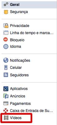 Facebbok - Configurações de Conta - Vídeo