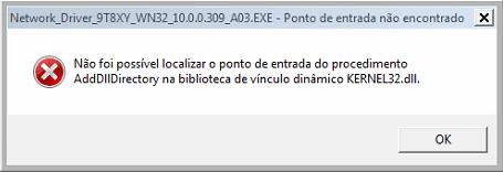 Não é possível localizar o ponto de entrada do procedimento AddDllDirectory – Drivers Dell