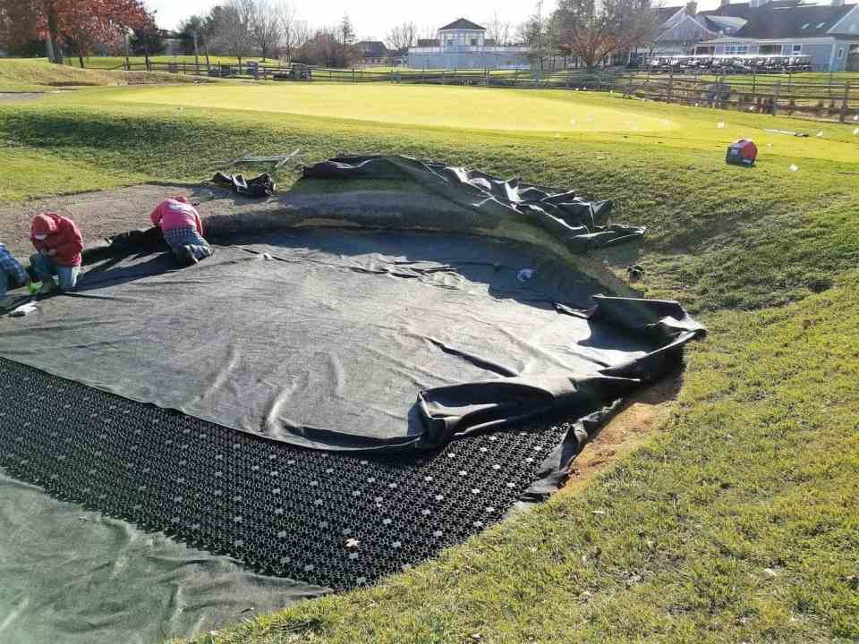 bunker drainage, sand trap drainage, billy bunker