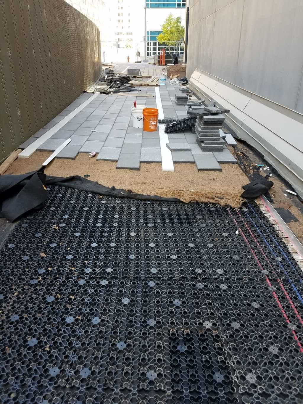 AirDrain Installed under Pavers on Walkway in OKC - Paver Patio Cost Archives - AirField Systems