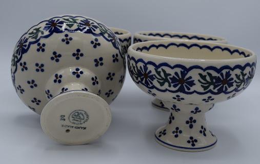 Polish Pottery Pedestal Dessert Bowls, Set of 4 Image