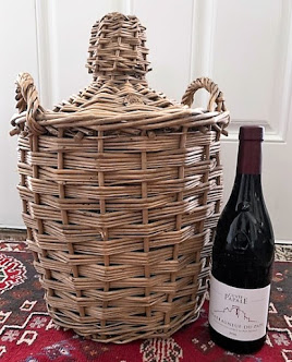 French Mid-Centriy Demijohn Wrapped in Wicker Basket (Small) Image