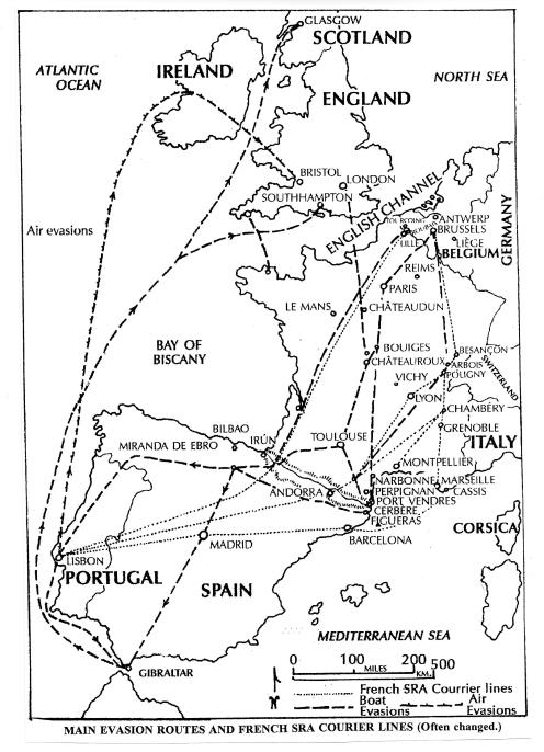 Escape Line Map from June 2007 AFEES newsletter