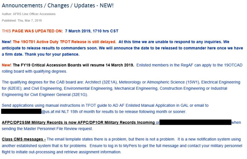 AF Portal Announcements – 7 Mar 19 – Air Force Journey