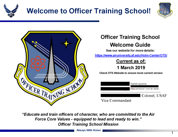 OTS Reporting Instructions – Air Force Journey