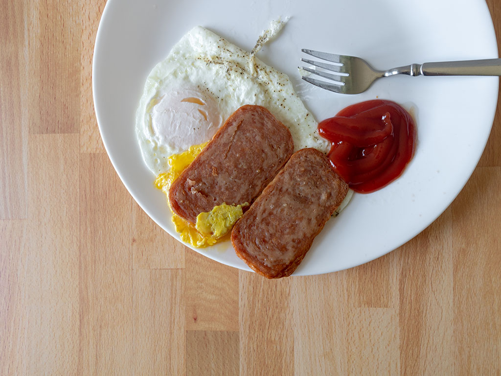 Air fried spam with eggs