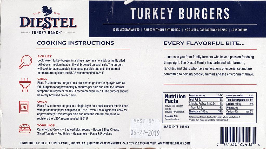 Diestel Turkey Burgers packaging back