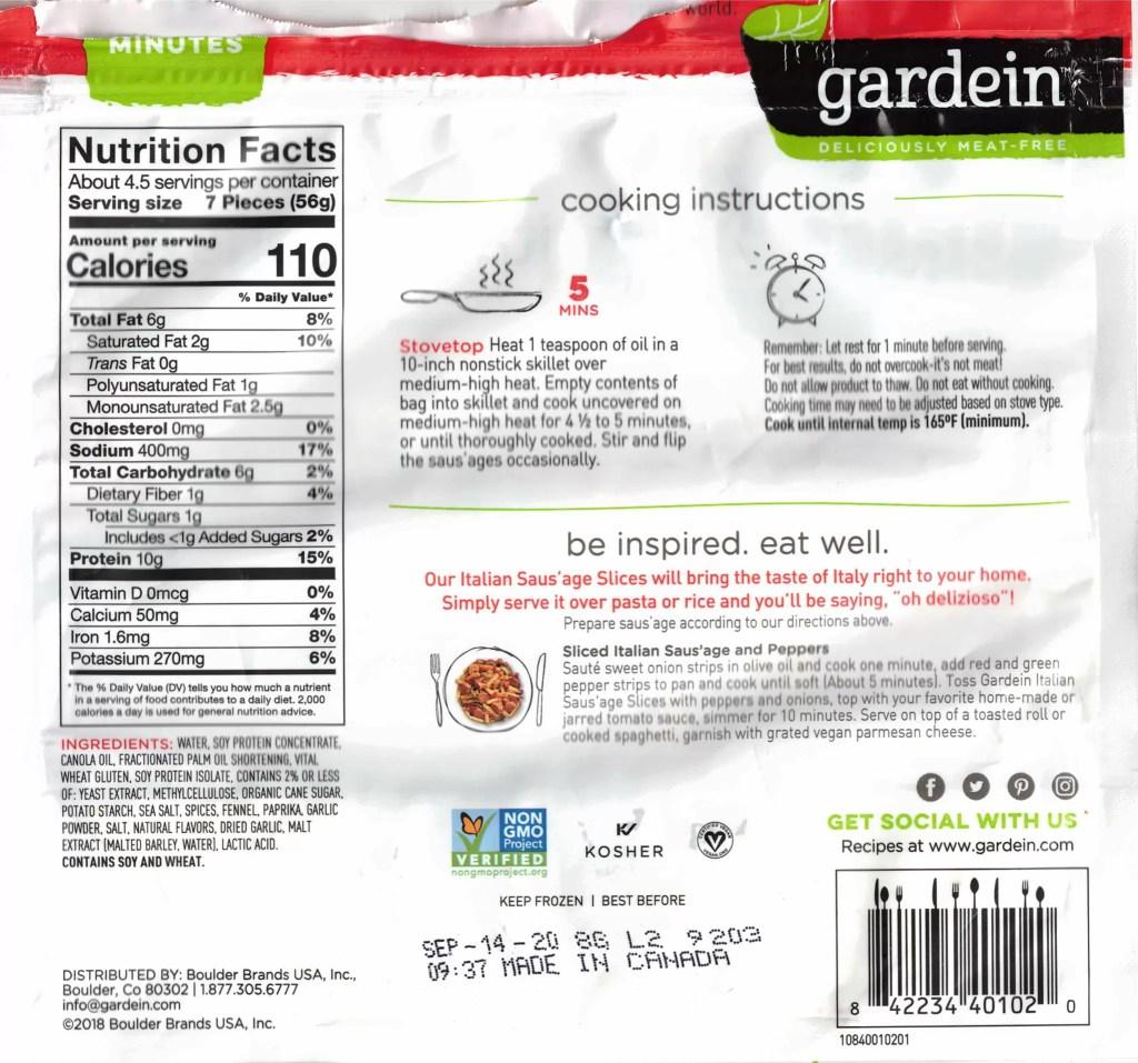 Gardein Sliced Italian Saus'age package back