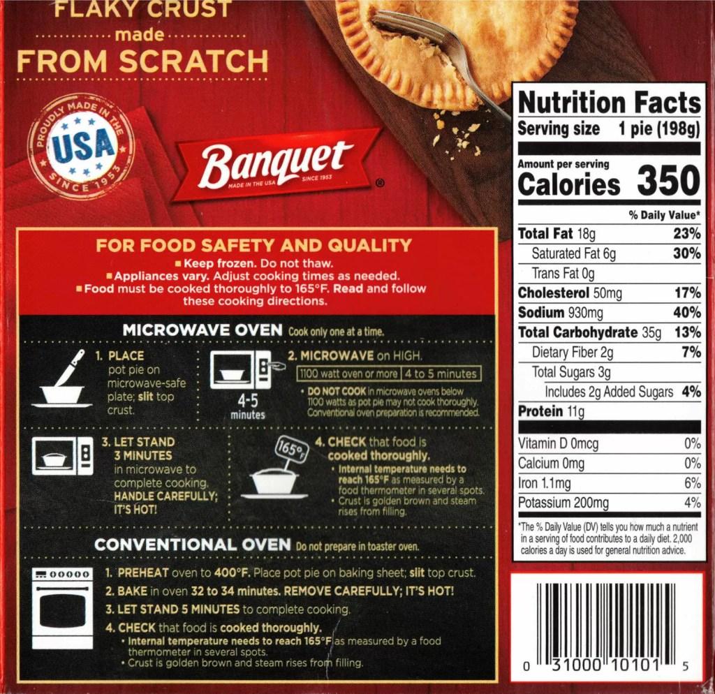 Banquet Chicken Pot Pie package rear
