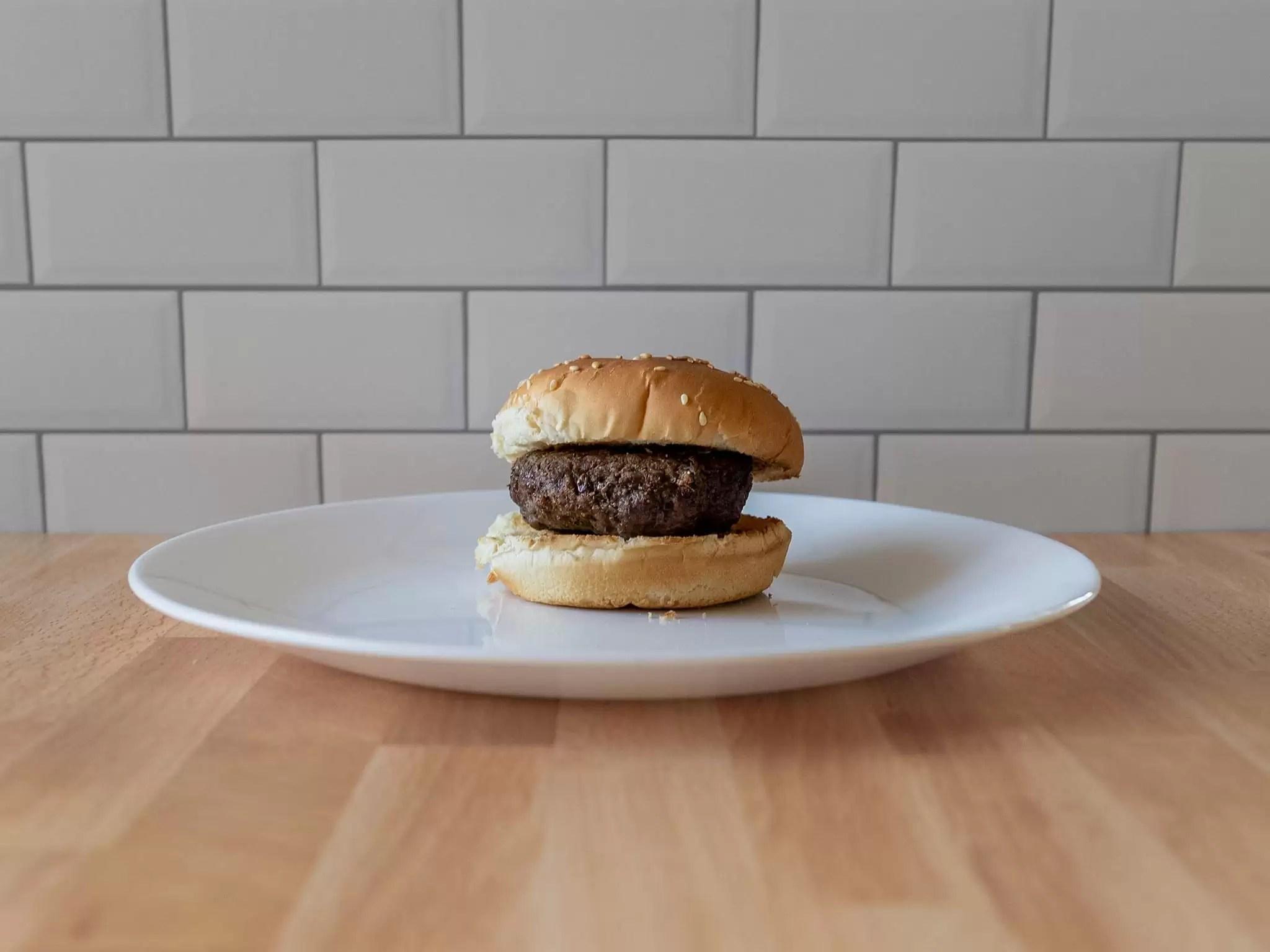 Air fried quarter pound burger