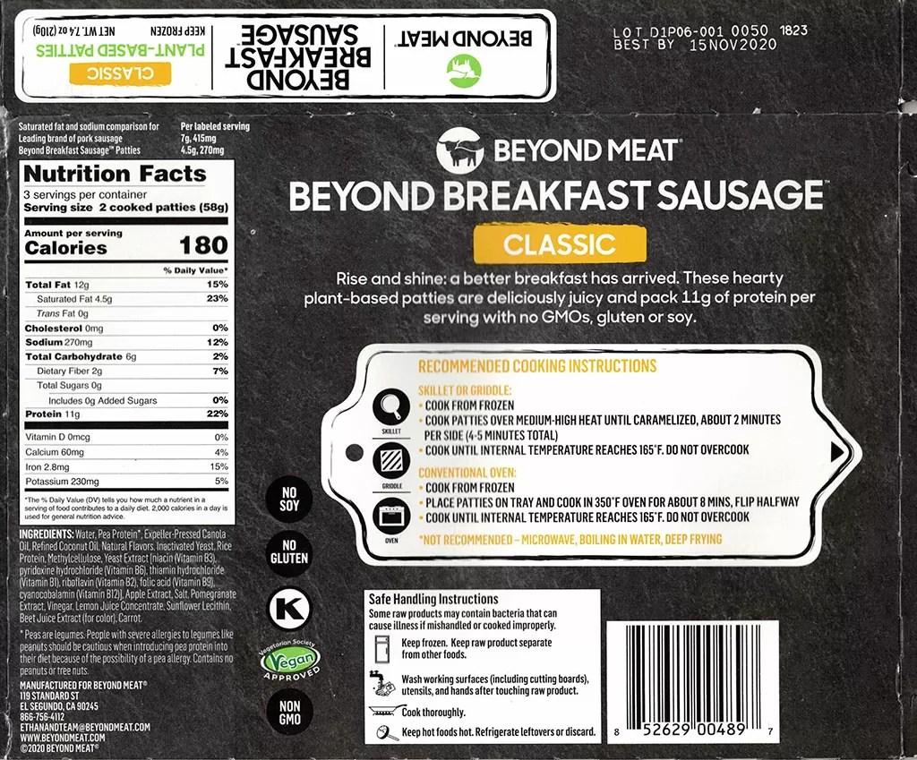 Beyond Breakfast Sausage packaging