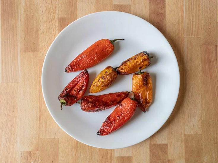 Air fried sweet mini peppers