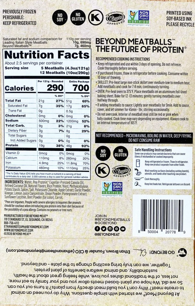 Beyond Meatballs nutrition and ingredients