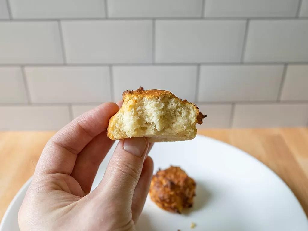 Air fried drop biscuit interior