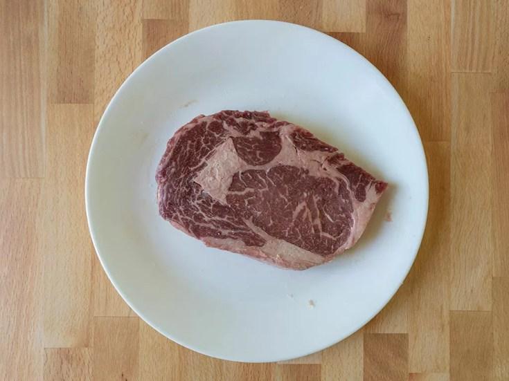 Raw Kroger Private Selection ribeye steak