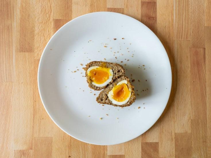 Air fried vegetarian Scotch egg halved