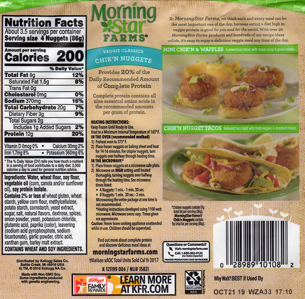 MorningStar Farms Chick'N Nuggets cooking instructions, nutrition, ingredients