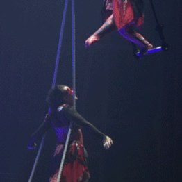 Two women lean forwards, one foot in front, each on single-point trapezes.