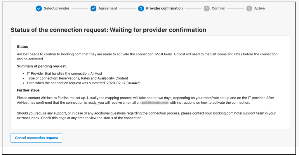 Waiting for provider confirmation.