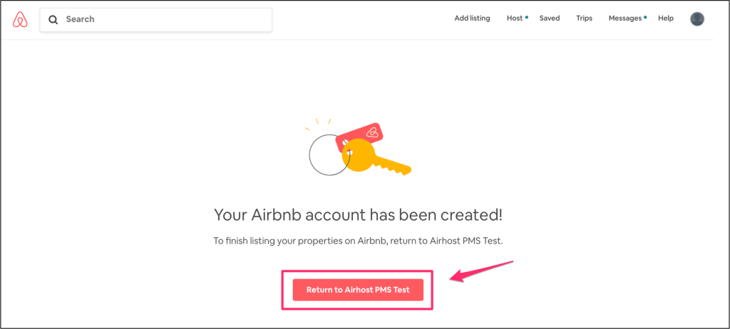 Airbnb account has been created.