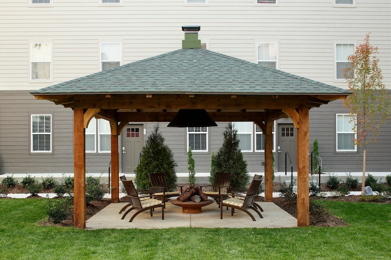 having an outdoor space with a firepit