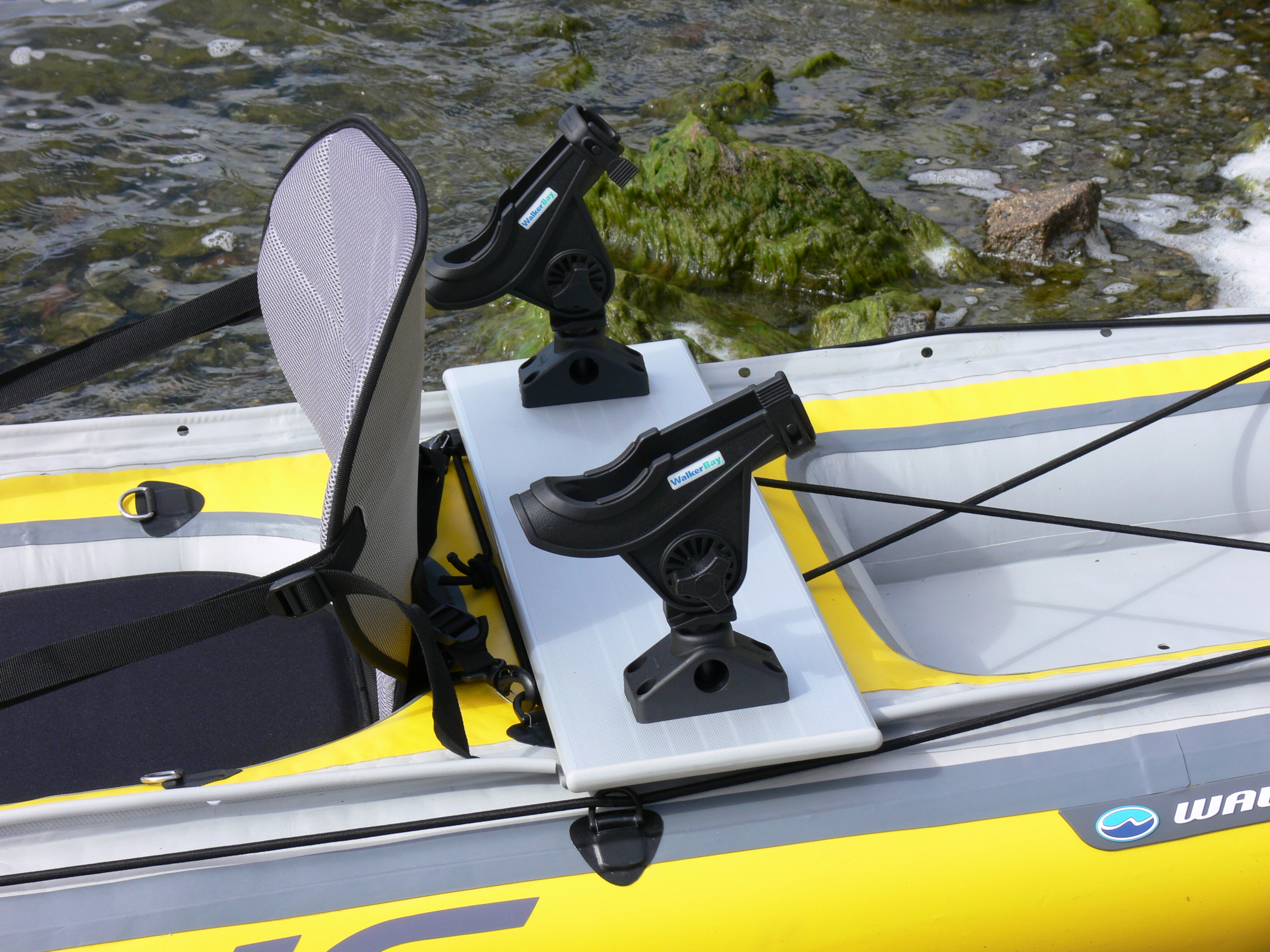 fishing chair with pole holder yoga routines the airis inflatable angler kayak from walker bay  not