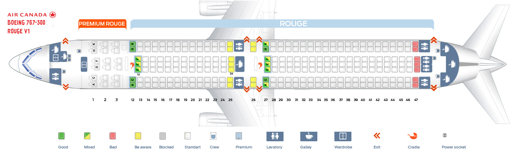 hight resolution of first cabin confuguration seat map and seating chart boeing 767 300er air canada rouge