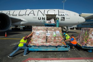 NASSAU, BAHAMAS - SEPTEMBER 17, 2019 - Nassau and Houston United ramp agents unload palettes of disaster aid from a United Airlines flight from George Bush International Airport in Houston, Texas. Airlink and United team up to deliver relief supplies and members of Team Rubicon Disaster Response group, departing for Nassau, Bahamas from George Bush International Airport in Houston, Texas.