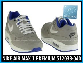 NIKE AIR MAX 1 PREMIUM 512033-040 w kolorze CLASSIC STONE SL – HYPR BLUE – ANTHRACIT - cena 399,99 zł - buty męskie 5