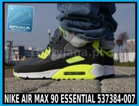 Buty Nike Air Max 90 Essential 537384-007 czarno żółte neon 2