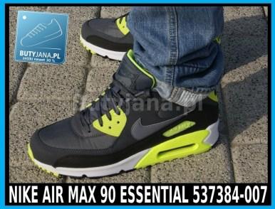 Buty Nike Air Max 90 Essential 537384-007 czarno żółte neon 7
