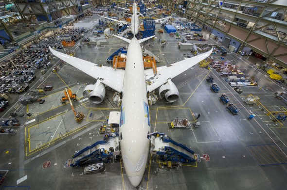 Boeing 787s in the Production Line at Everett
