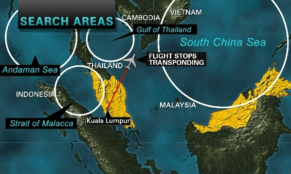Flight 370 Search Areas