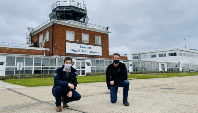 Robert Walters Commercial Director of Biggin Hill, with Adam Twidell of PrivateFly.
