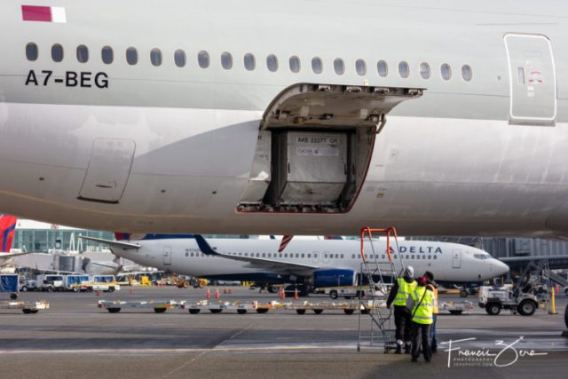 The 773's cargo hold was filled with containers. Qatar flies the large jets, in part, to maximize its cargo-handling opportunities
