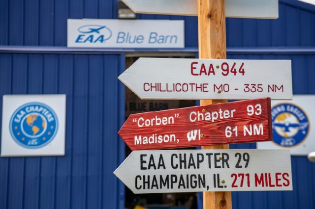 EAA Chapter Signs outside the Blue Barn at AirVenture 2021