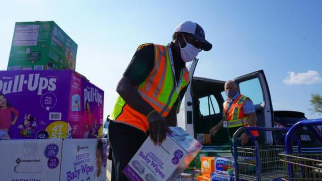 Delta employees gather supplies for incoming evacuees from Afghanistan.