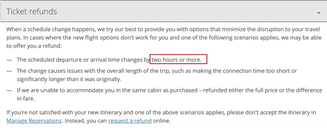 United's Old Schedule Change Refund Policy Was 2+ Hours