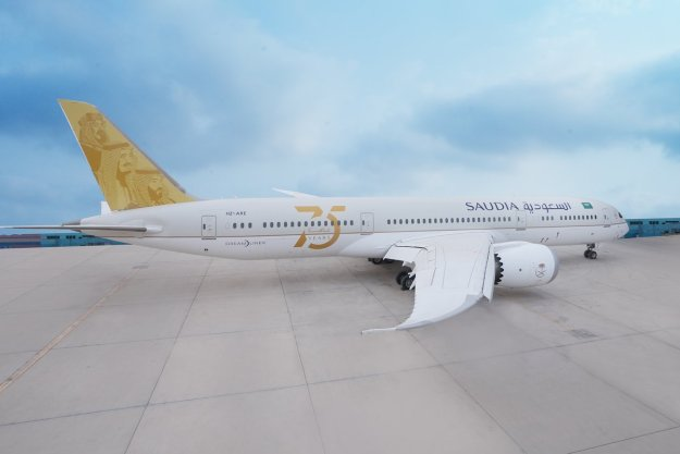 """saudia introduces a special 75 years logo jet on boeing 787 9 dreamliner hz are 1 Airplane GEEK Saudia introduces a special """"75 Years"""" logo jet on Boeing 787-9 Dreamliner HZ-ARE"""