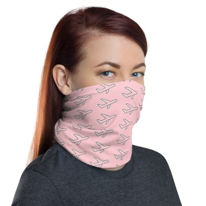 airplaneTees Airplane Face Mask/Face Covering/Neck Gaiter - Pink 1