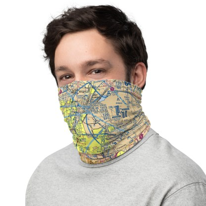 airplaneTees DEN - Denver VFR Sectional Face Mask/Face Covering/Neck Gaiter 1