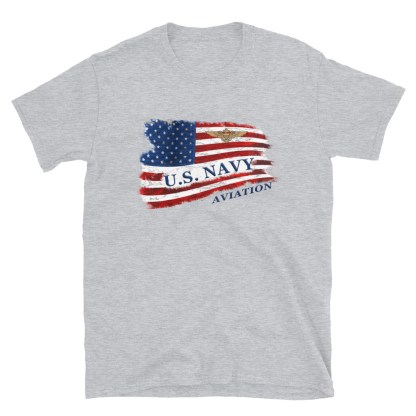 airplaneTees US Navy Aviation American Flag Tee... Short-Sleeve Unisex 1