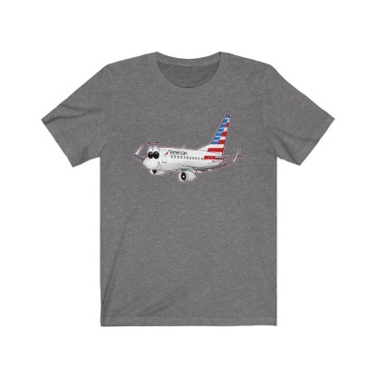 airplaneTees American Airlines Smiley 737 Tee... Unisex Jersey Short Sleeve 3